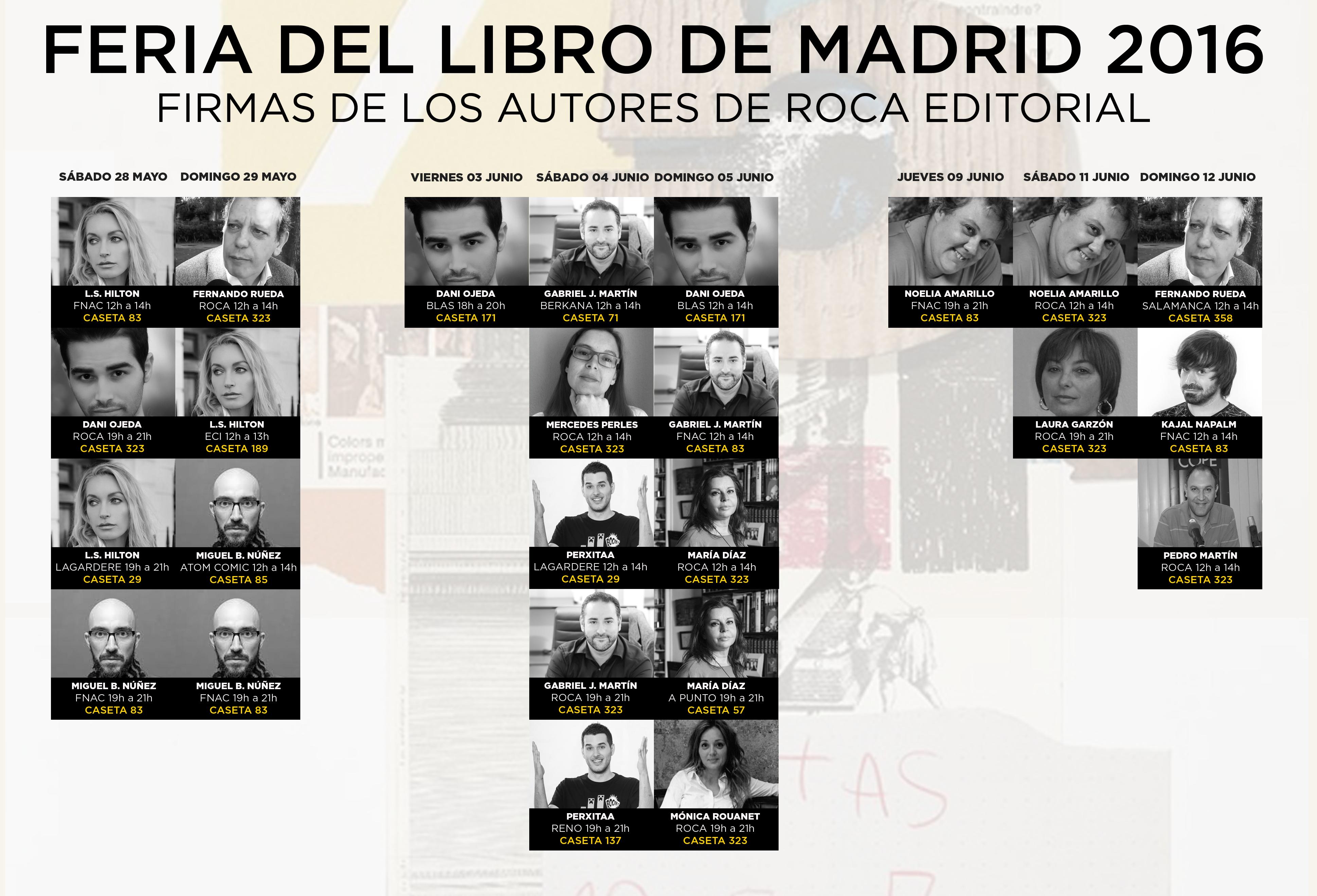 Horarios firmas autores de Roca Editorial en la FLM16